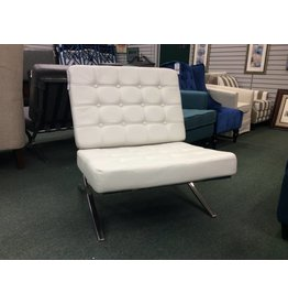 Global Furniture USA White Leatherette Barcelona Lounge Chair