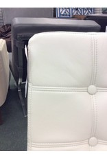 White Leatherette Barcelona Lounge Chair