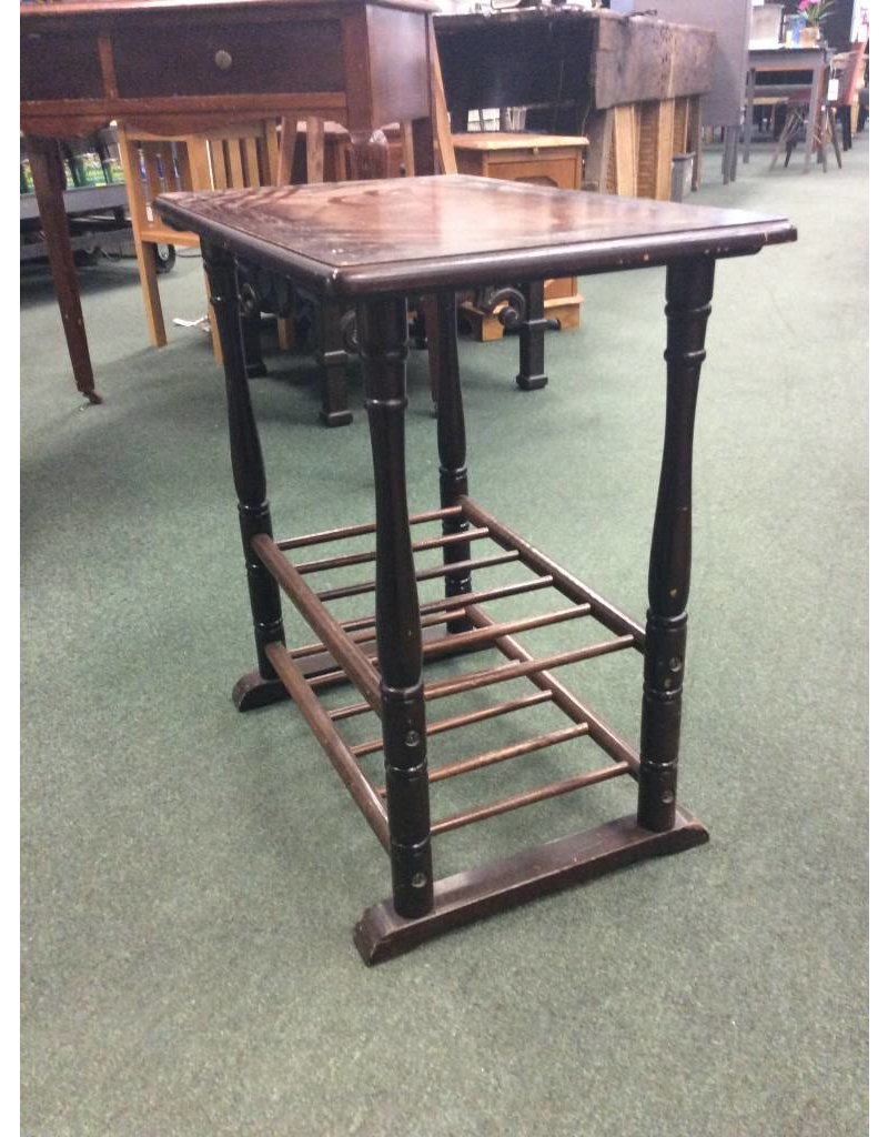Vintage Dark Stained Side Table w 2 Shelves