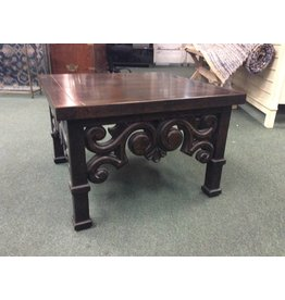 Dark Stained Wooden Stand w Scroll Carving