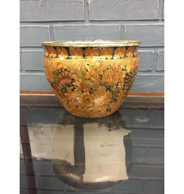 Gold/ Green Asian Style Ceramic Planter