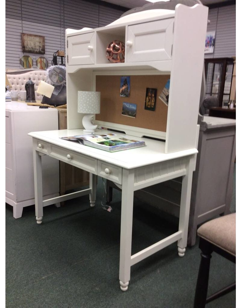 White Student Desk with Hutch Top and Corkboard