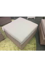 TK Classics Florence Gray Washed Wicker Ottoman w Cushion