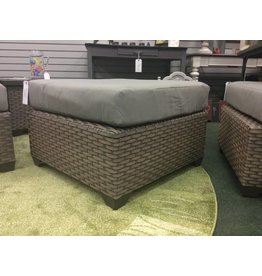 TK Classics Florence Gray Washed Wicker Ottoman w Cushion