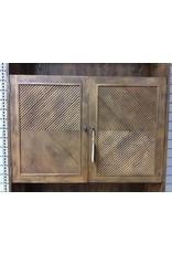 Two Piece Cabinet & Shelf Unit w 2 Bottom Doors & 2 Top Doors