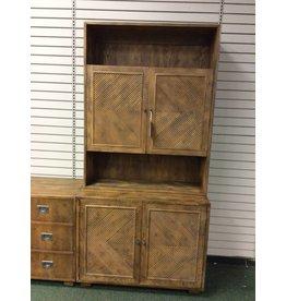 Henredon Two Piece Cabinet & Shelf Unit w 2 Bottom Doors & 2 Top Doors