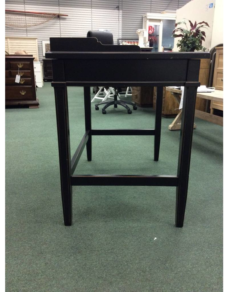 Black Ladies Desk w Gold Accents & 1 Divided Drawer
