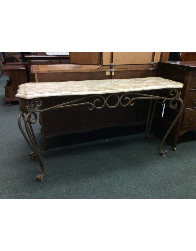 Burnished Metal Sofa Table w/ Marble Top