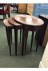 Set of 3 Mahogany Nesting  Tables w/ Leather Tops