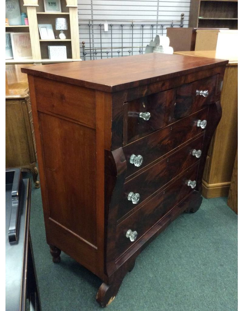 American Empire Style Solid Wood 5 Drawer Chest