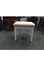 White Vanity Stool w Ivory Seat