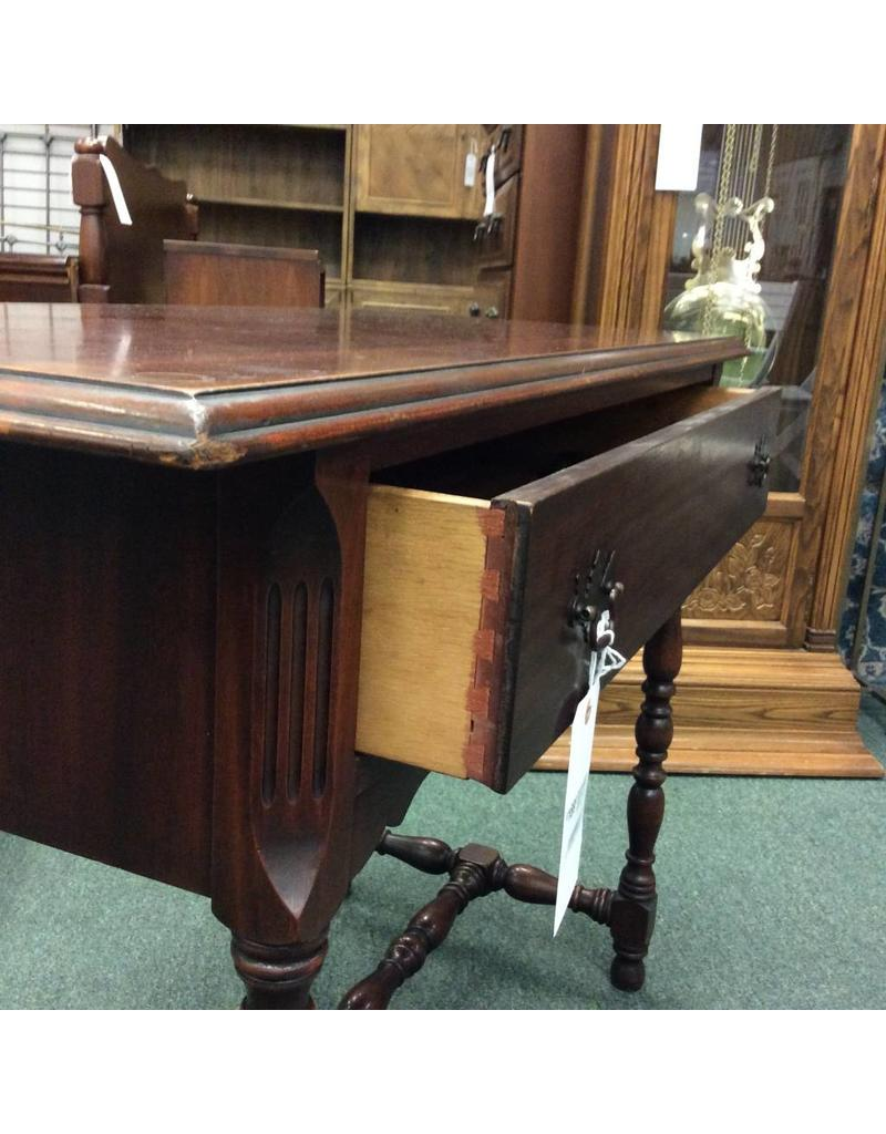 Mahogany Console Table w/ 1 Drawer, Turned Legs & Stretcher