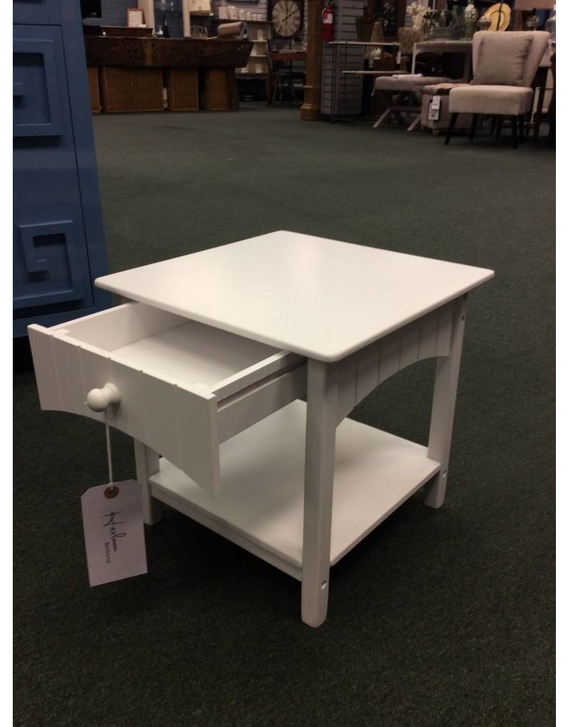 Youth Size White 1 Drawer Nightstand