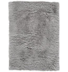House of Hampton Linden Faux Fur Gray Area Rug 5x7