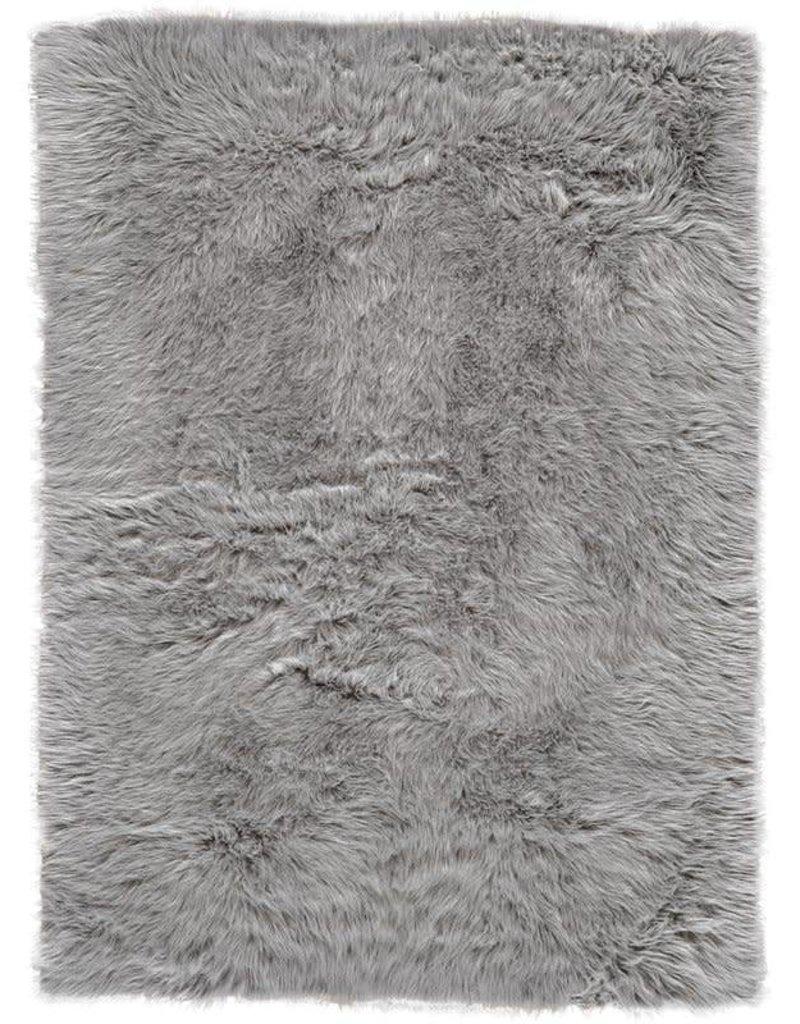 House of Hampton Linden Faux Fur Gray Area Rug 5x7