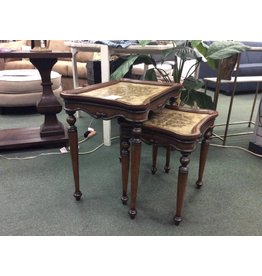 2 Nesting End Tables w Marble Inlay