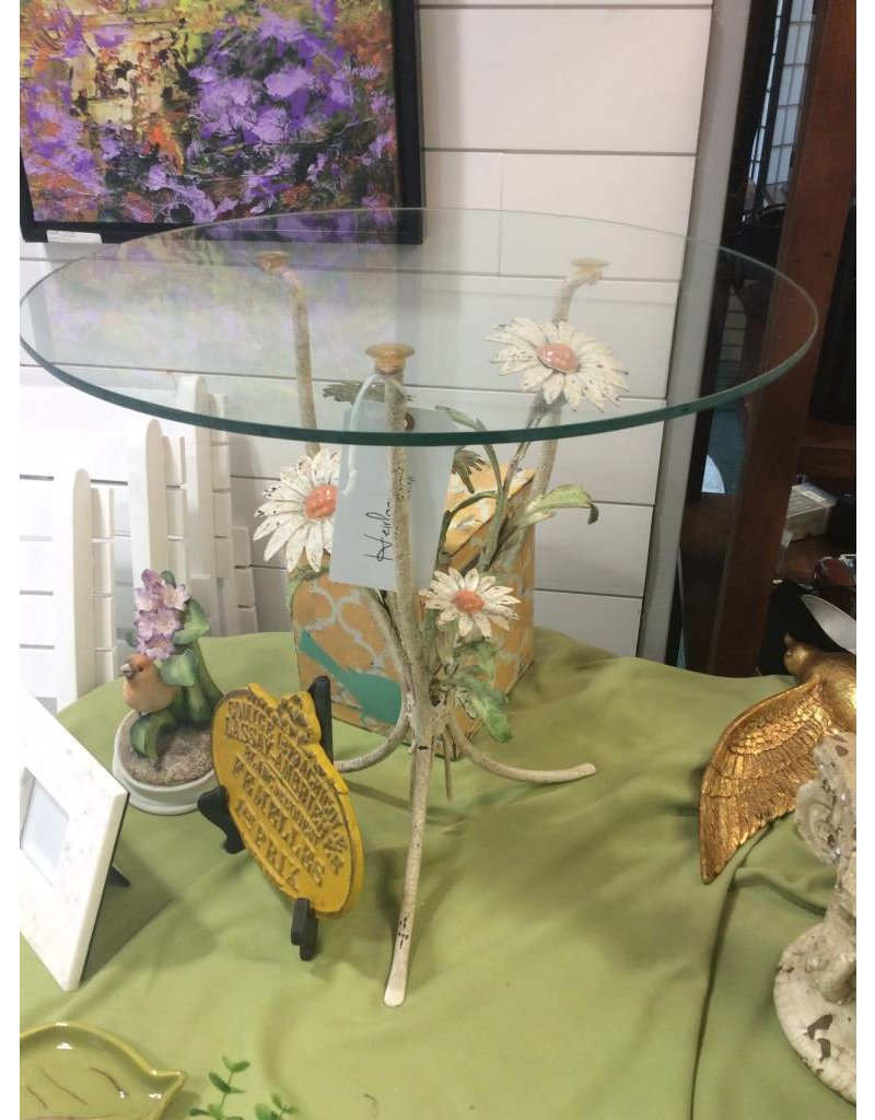 Metal Daisy Glass-Top Accent Table
