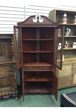 Federal Style Mahogany Corner Cabinet w Fretwork on Doors