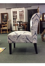 Signature Design by Ashley Emily Blue and White Slipper Chair