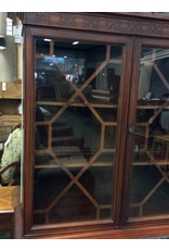 1940's Federal Style Intricately Carved China Cabinet w Fretwork Doors