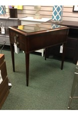 Mahogany Glass Topped End Table w 1 Drawer