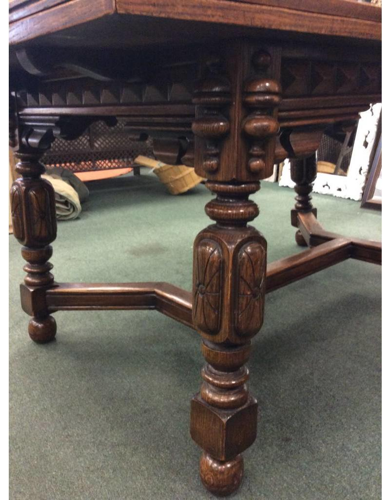 Solid Oak Jacobean Style Dining Table & 6 Chairs
