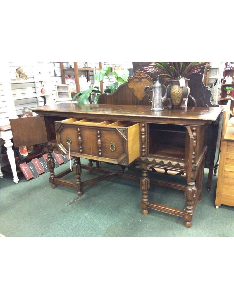 Solid Oak Jacobean Style Buffet w Relief Carving