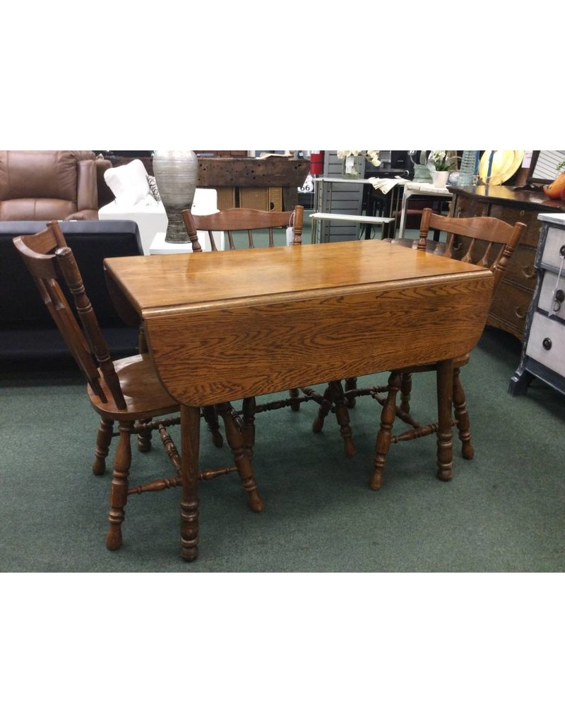 Solid Oak Drop Leaf Dining Table W 3 Chairs