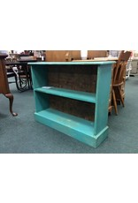Small Teal Bookcase w Paisley Back