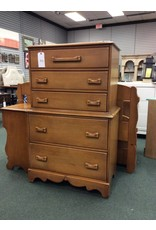 Solid Maple C.1940 5 Drawer Chest on Chest