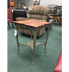 Two Tone Painted Victorian Side Table w Stained Top