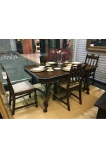 "Dining Table w 12"" Leaf, Iron Scroll Stretcher and 4 Matching Chairs"