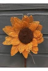 Burlap Sunflower Pick, Yellow