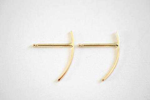 Kristen Elspeth Small Thread Arc Demi Hoop 14k Gold
