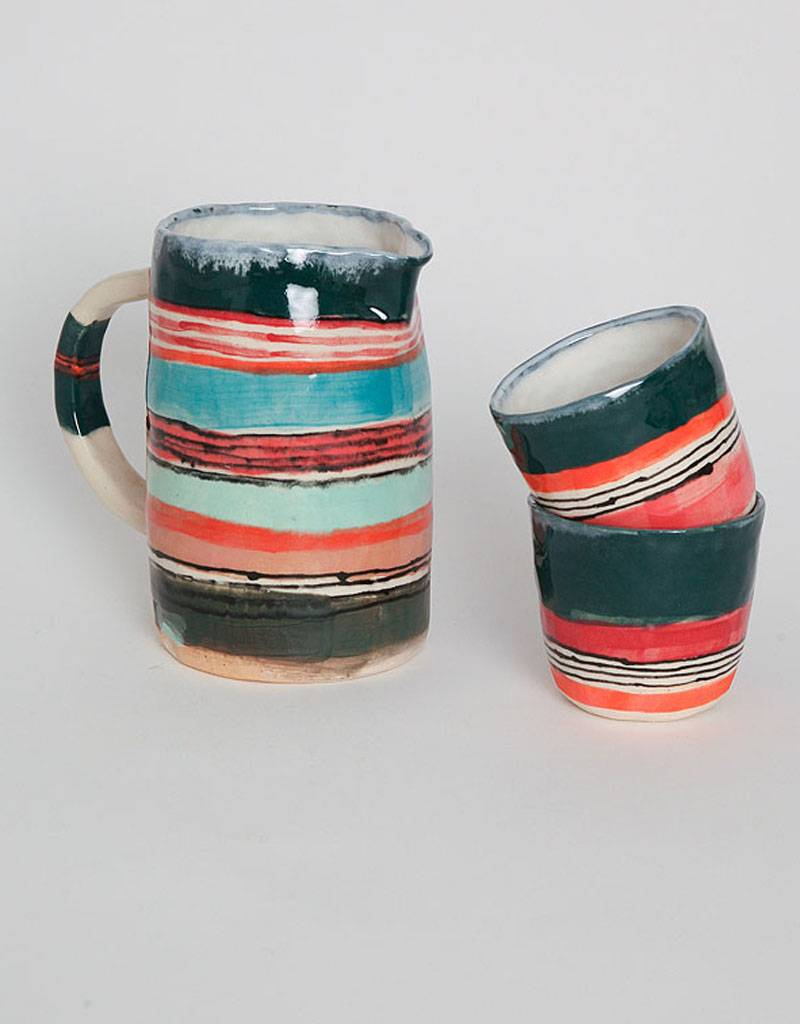 Alice Cheng Studio Green and Red Striped Pitcher Set
