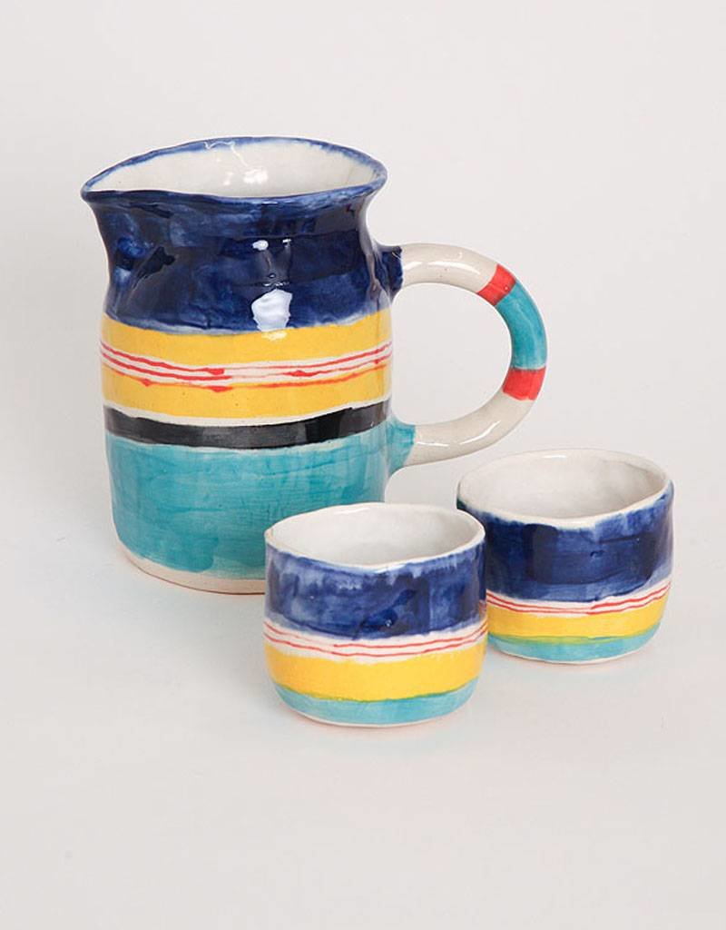 Alice Cheng Studio Blue and Yellow Striped Pitcher Set