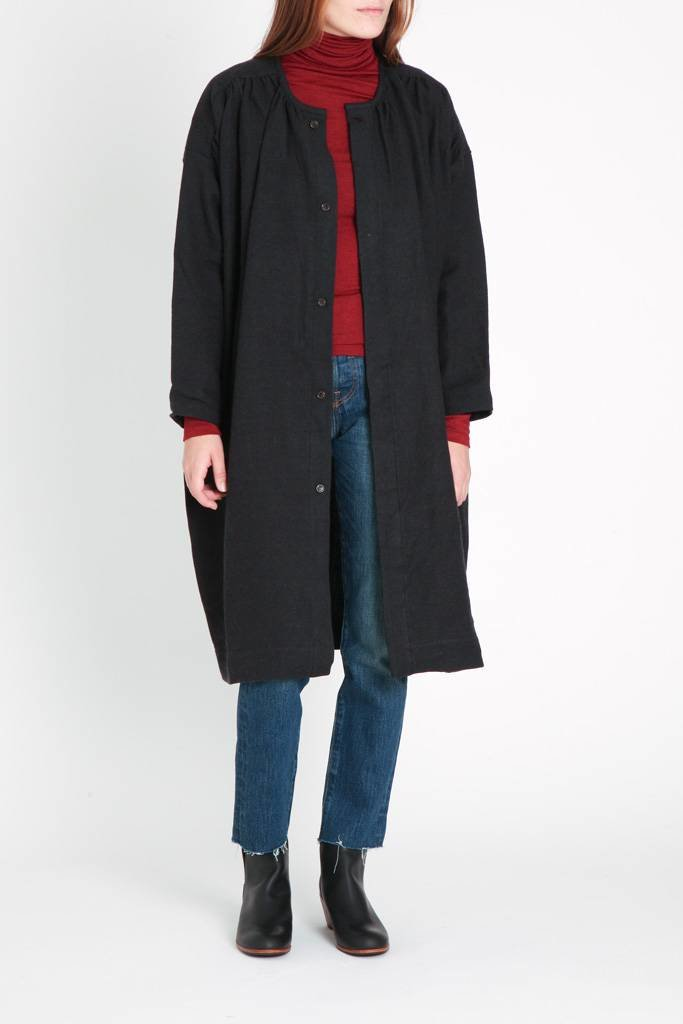 Ichi Antiquities Wool & Linen Coat Black O/S