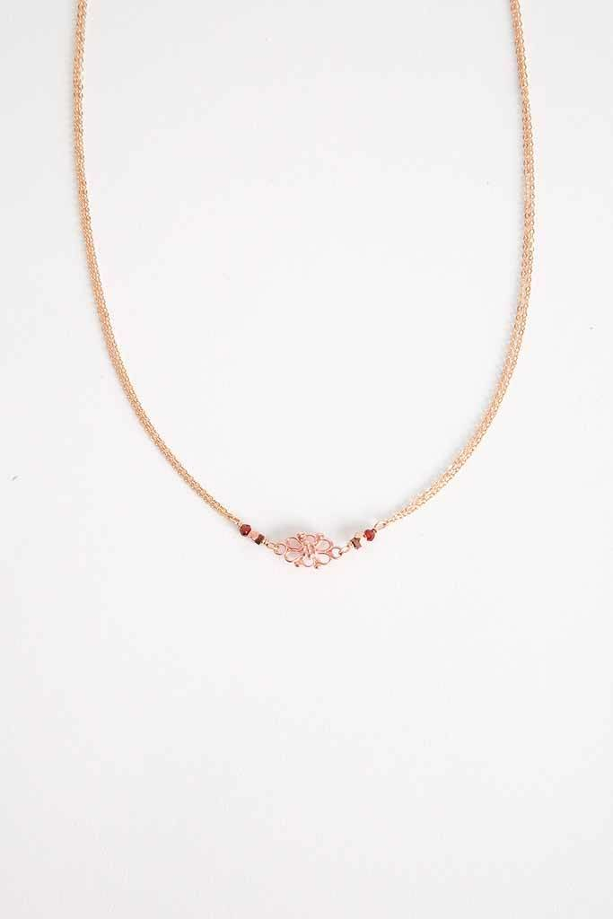 """Robin Haley Jewelry Rose Gold Lace Necklace - 18"""""""