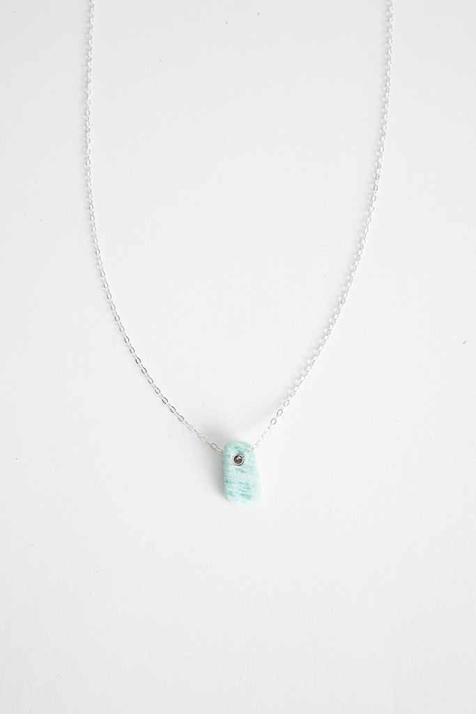 Margaret HInge Single Stone Necklace Sterling Silver