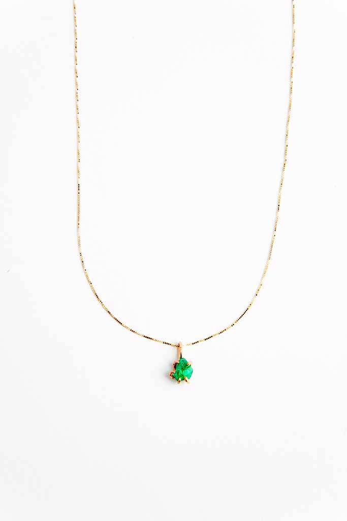 Variance Zambian Emerald Small Pendant Necklace