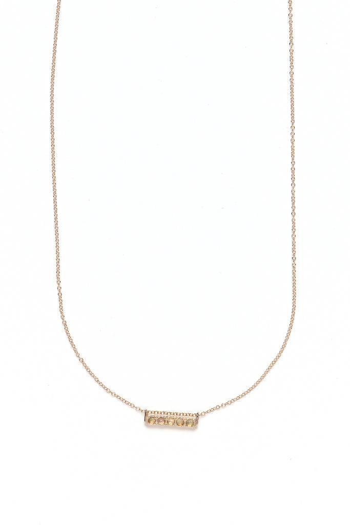 Merewif Comet Necklace Gold Plate/ GF/Opal
