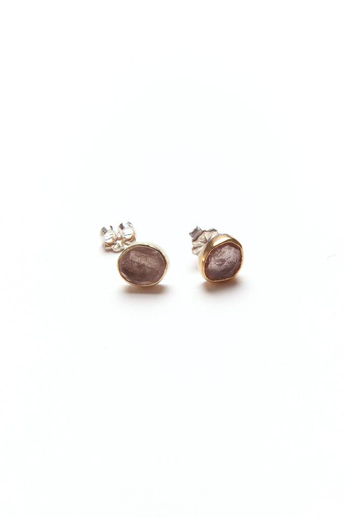 Satomi Studio  Tiny Studs 18k Gold/Sterling/Rose Quartz