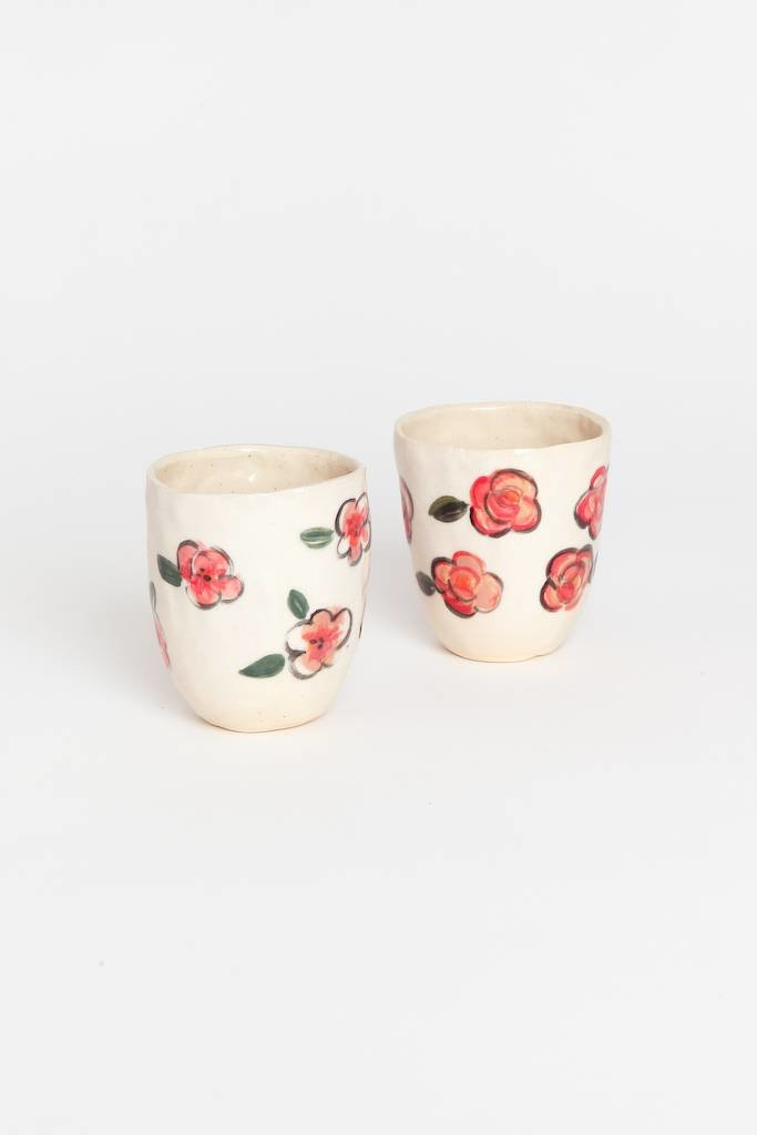 Alice Cheng Studio Pink Flora Cups