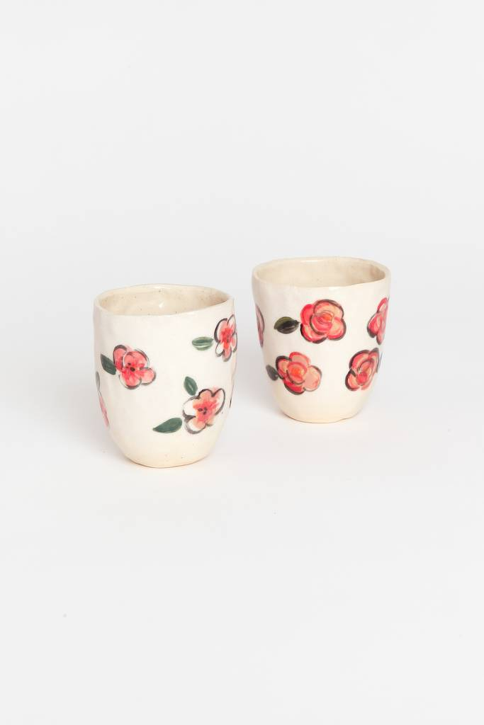 Alice Cheng Studio Pink Flora Cups