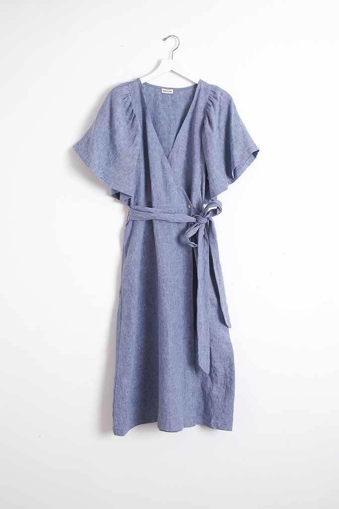 masscob Washed Linen Wrap Dress