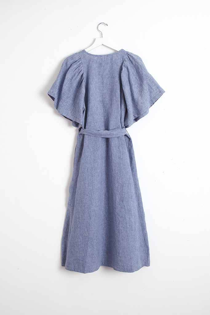 masscob Washed Linen Wrap Dress