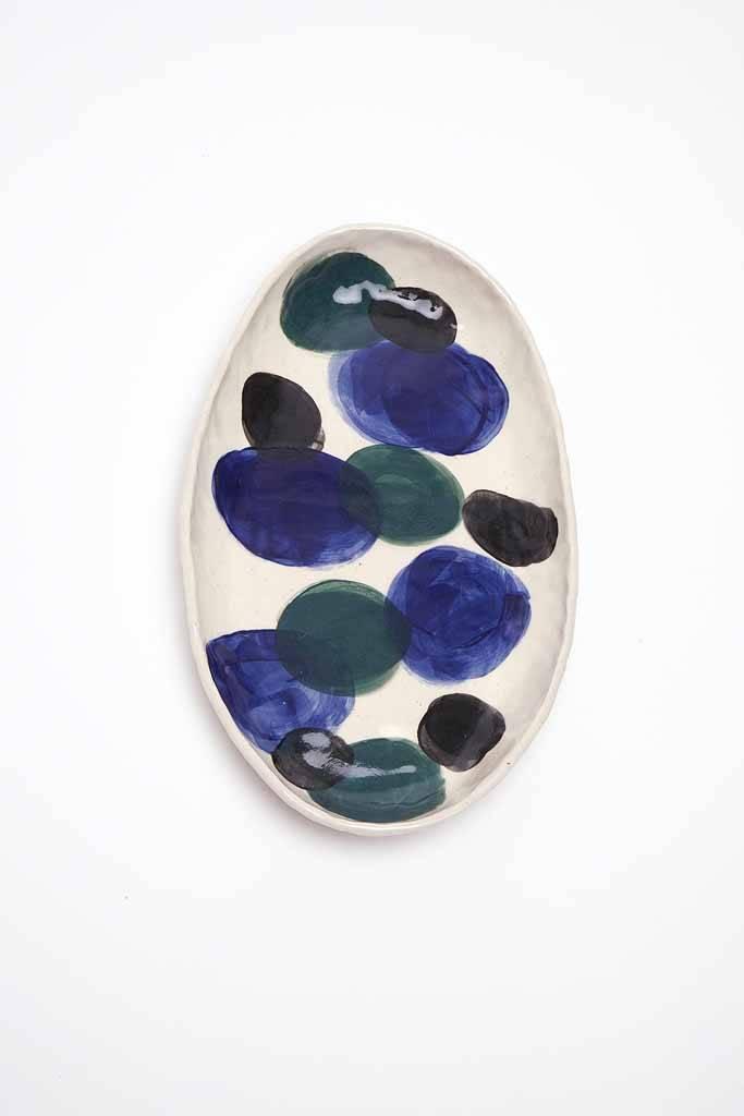 Alice Cheng Studio Blue Oval Tray