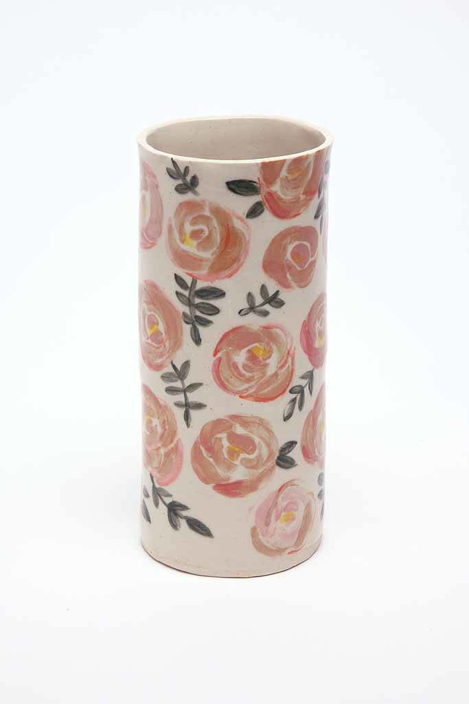Alice Cheng Studio Hand Painted Rose Vases