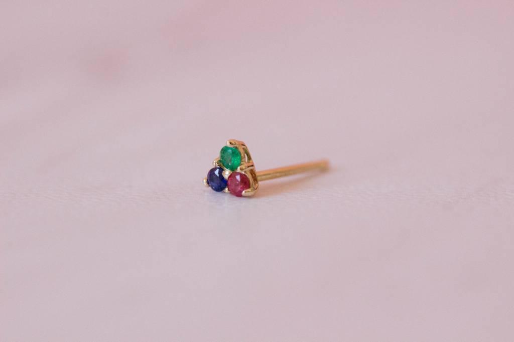 Gjenmi Superbloom Single Studs 14KT/ruby/emer/sapphire
