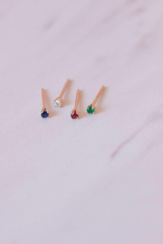 Gjenmi 14KT Single Baby Studs/ Mixed Gemstones